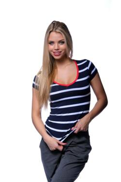 V Neck Stripe T-shirt