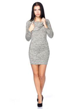 Marled Knit Off Shoulder Mini Dress