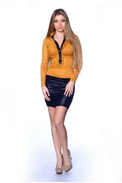 Elől fodros mini ruha - Yellow