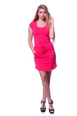 Derrékán zsinórral mini ruha - Hot Pink