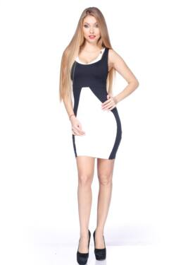 Double Strap Color Block Mini Dress