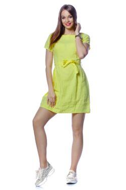 Mélyen Kerek nyakú mini ruha - Yellow