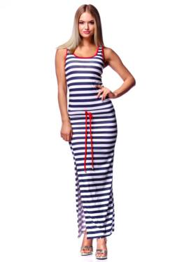 Derrékán zsinórral Ing ruha - White - Navy Blue - Red