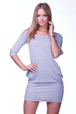 Hátul keresztpántos mini ruha - Melange Grey