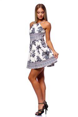 Mini ruha - White Floral Print