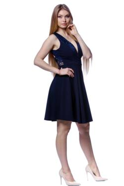 V nyakú hátul nyitott mini ruha - Dark Blue