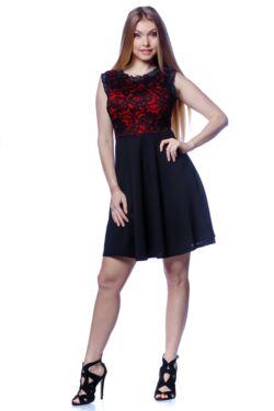 A vonalú,magasított derekú ruha - Black - Red