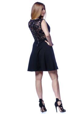 magasított derekú ruha - Black - Red