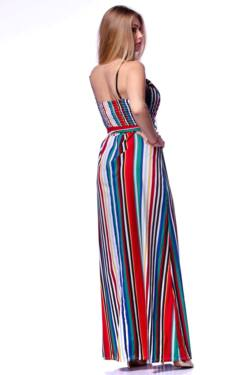 Color Block csíkos maxi ruha
