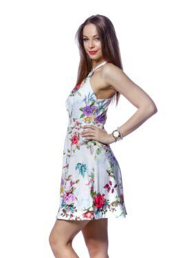 Virág mintás mini ruha - White Floral Print