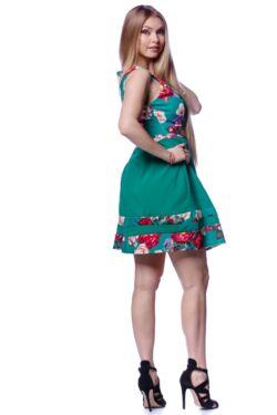 Scoop Neck Floral Print Skater Dress