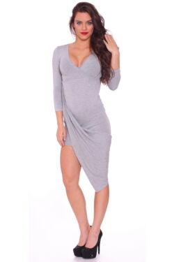 Átlapolt Maxi ruha - Melange Grey