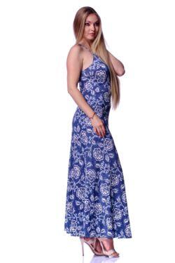 Virágmintás maxi ruha - Indigo Blue - White