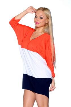 Több színből varrott, laza felső/Color Block oversize ruha