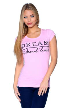 Nyomott mintás póló - Light Pink