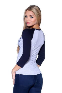 Color Block Top Melange Grey - Dark Blue