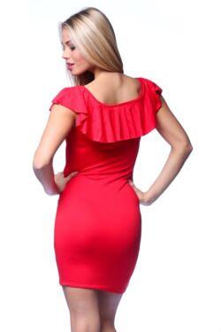 Fodros nyakú mini ruha - Red