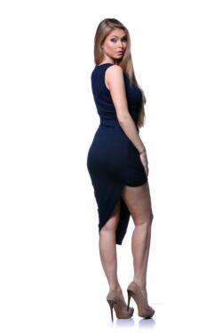 Csavart aljú mini ruha - Dark Blue