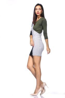 Több színből varrott miniruha /Color Block miniruha - Khaki - Melange Grey - Black