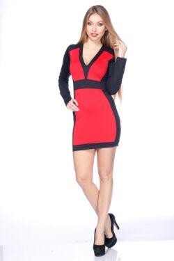 Több színből álló mini ruha /Color Block miniruha - Black - Red