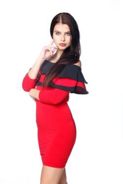 Midi ruha - Red - Black