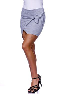 Selt Tie Wrap Front Skirt - Melange Grey