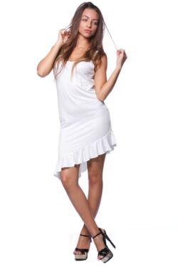 Fodros aljú asszimetrikus mini ruha - Cream