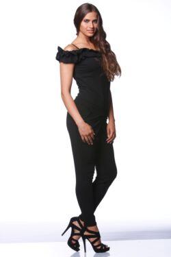 Dupla fodros pántos ruha - Black
