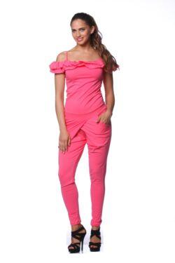 Dupla fodros pántos ruha - Hot Pink