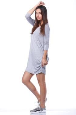 Redőzött oldal mini ruha - Grey