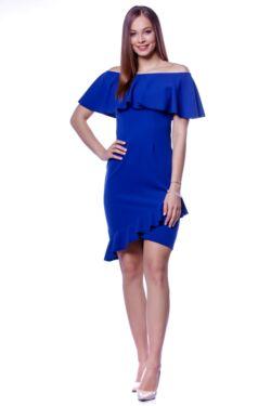 Vállra húzott fodros mini ruha - Rolyal Blue