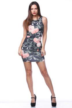 Mini ruha - Black - Rose floral print