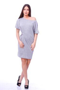 Fém csatos, laza midi ruha - Melange Grey