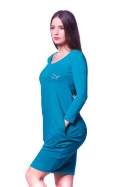 Redőzött oldal zsebes mini ruha - Green