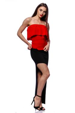 Smocked Tube Top With Ruffles - Red