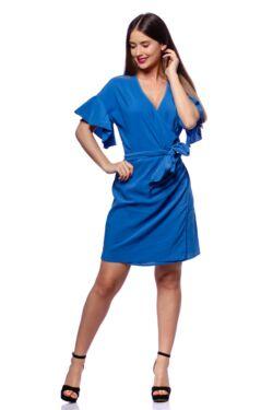 Tölcsér ujjú átlapolt mini ruha - Rolyal Blue