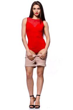 Tüll betétes body - Red