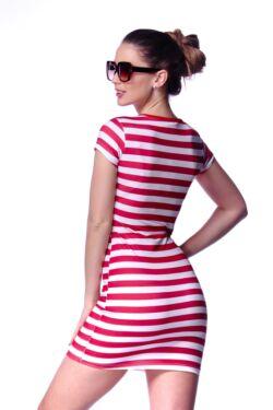 Csíkos fűzős mini ruha