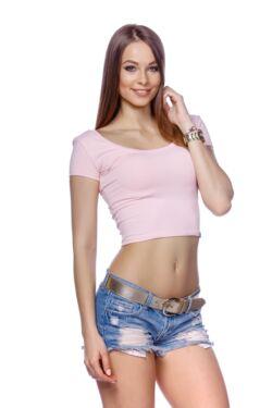 Cropped T-shirt - Quartz rose
