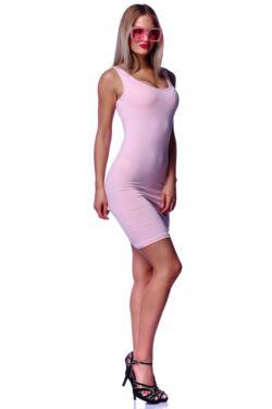 Hátú keresztpántos dzsörzé mini ruha - Quartz Rose