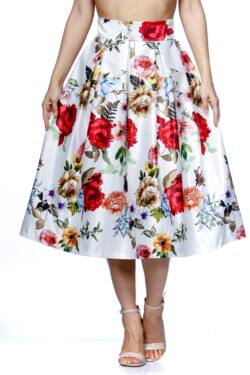 Rakott virágmintás midi szoknya - White Floral Print
