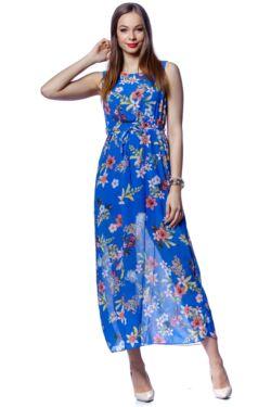 Virág mintás maxi ruha - Rolyal Blue Floral Print