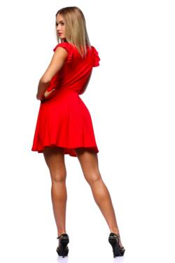 Fit And Flare Mini Dress With Ribbon - Red