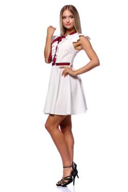 Fit And Flare Mini Dress With Ribbon - White