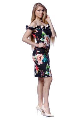 Vállra húzott virágmintás mini ruha - Black Floral Print