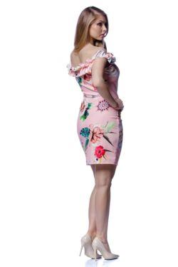 Vállra húzott virágmintás mini ruha