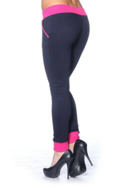 Color Block Joggers with drawstring Dark Blue - Fuschia