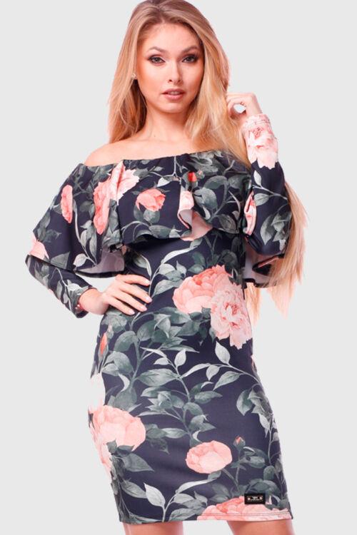 Virág mintás ruha - Black - Rose floral print