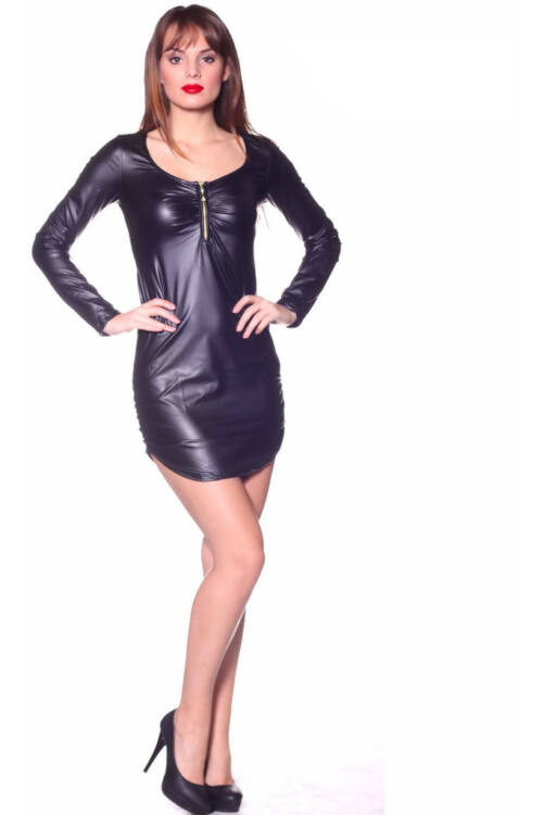 Bőr cipzáros mini ruha - Black