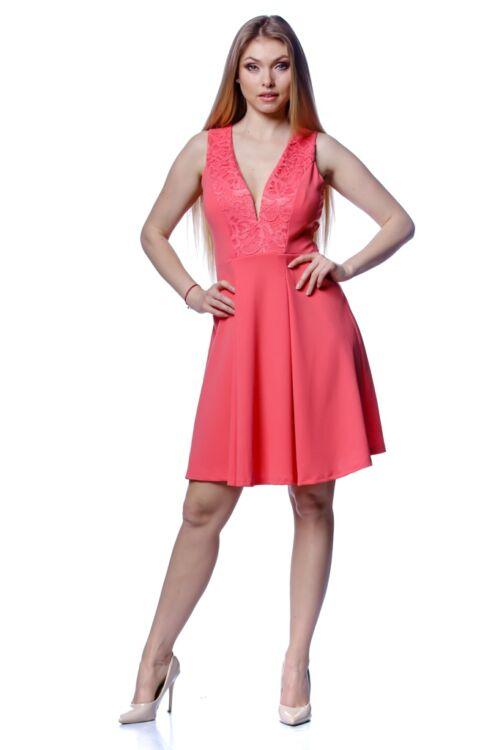 V nyakú hátul nyitott mini ruha - Pink